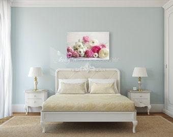 Flower Canvas Print- Flower Photography, Pink White Ranunculus Canvas Wrap, Floral Photography Canvas Print, Canvas Wall Art, Bedroom Decor