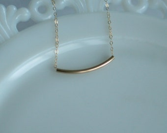 Gold Filled Tube Necklace - Wedding Jewelry - Bridesmaid Jewelry - Special Occasion Jewelry