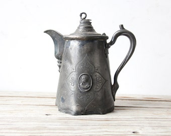 Antique Pewter Rogers Smith & Co Large Kettle with Swan Lid