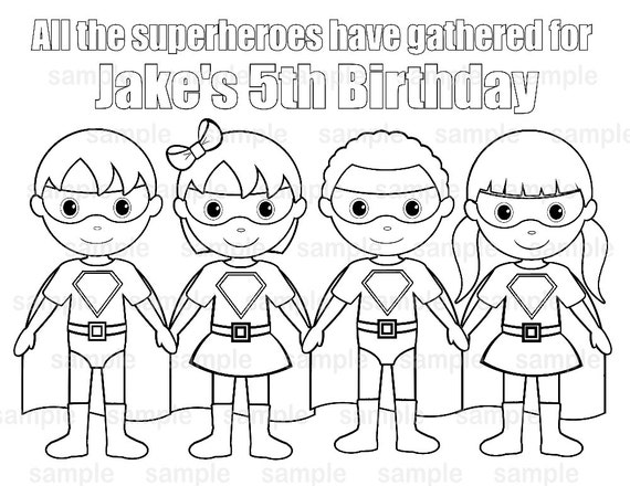 personalized printable superhero boy girl group birthday party