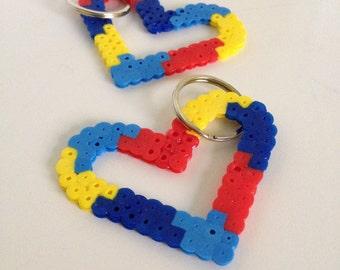 AUTISM AWARENESS Heart Keychain - April is Autism Awareness Month