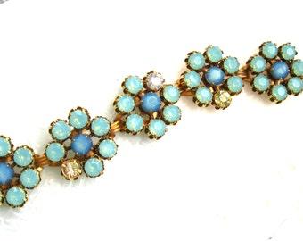 Pacific Opal Blue opal Flower Bracelet Swarovski Crystal Vintage Flower bracelet Large bracelet 7-1/2 inch Plus Size Jewelry Blue braceletl