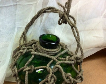 Glass Blown Green Bottle With Pontil & Rope Wrapping Vintage Galveston TX Find