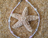Beaded Anklet with Pink and White Seed Beads