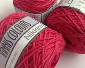 Cotton yarn, hand dyed, raspberry, double knit DK