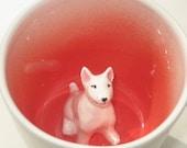 White Bull Terrier Surprise Mug (In stock)