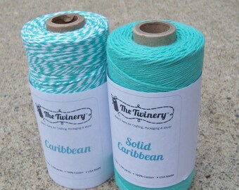 Bakers Twine - Twinery Twine - Two Colors - Solid and Twist - Caribbean - Bakers Twine - Your Choice of Amount