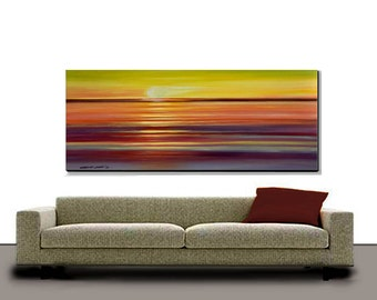 Original Abstract Painting Very Large 30X60 Sunset Ready to Hang Modern Art  By Thomas John