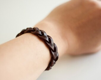 Braided Leather Bracelet / Dark Brown / Espresso
