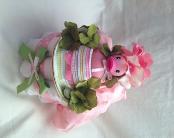 Baby Girl Diaper cake - One Tier cake - Made to Order