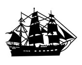 Tall Ship Vintage Style Die Cut for Scrapbooking or Cardmaking