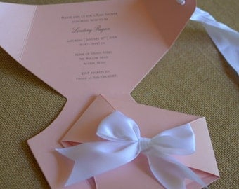 Pink and White Diaper Shaped Baby Shower Invitation - Luxe Collection (Die Cut)