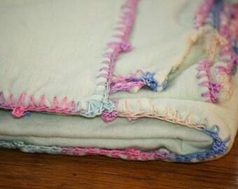 Pastel Baby Blanket with Crochet Edging