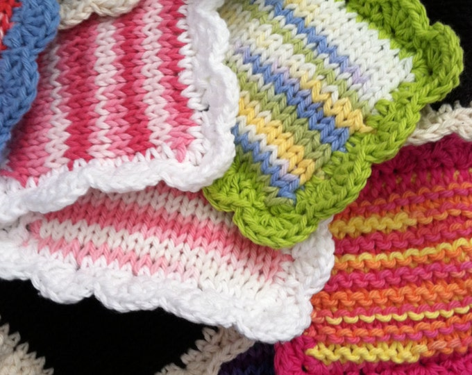Knitted Scrubbies / Knit Dishcloth / Set of 3 / Pot Scrubber / Dish Scrubbies / Dish Cloth / Sponge / Nylon Scrubbie / Scrubber