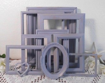 Lavender Purple Frame Set Shabby Chic Distressed Picture Photo Gallery Collection Beach Cottage French Country Farmhouse Home Decor Wedding