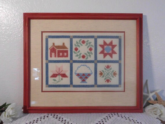 Large Cross Stitch Sampler Rustic Red Blue Green Framed Wall Hanging Retro Country Cottage Farmhouse Home Decor Christmas Gift for Her
