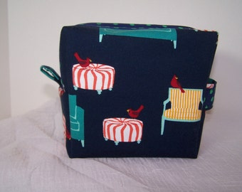 Aqua Couch Zipper Cosmetic Pouch, Make up bag, Navy Blue Box Bag