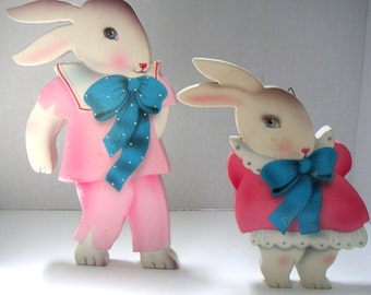Vintage Wooden Cut Outs,Bunnies, Wall Hanging.Nursery,Baby Shower