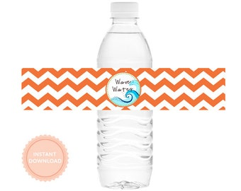 INSTANT DOWNLOAD, Boys SURFER -Printable Water Bottle Wraps (Chevron Stripes, Drink Wraps)