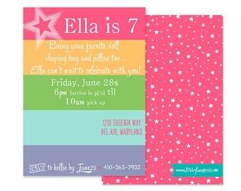 AMERICAN GIRL DOLL Inspired Birthday Party, Sleepover - Customized Printable Invitation