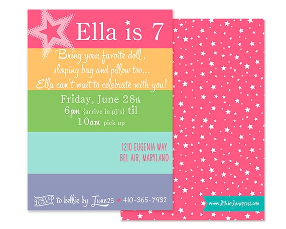 american girl doll inspired birthday party, sleepover  customized, Birthday invitations