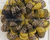 Yellow & Black Burlap Jute Spring Summer Mesh Wreath