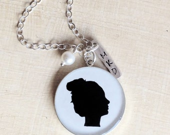Silhouette Necklace - Child Silhouette - Mother's Day Jewelry - Silhouette Charm - Mother's Necklace - Silhouette Pendant - Mom Necklace