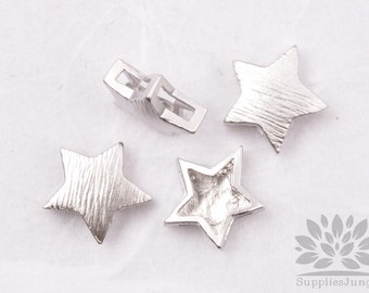 MB026-01-MR// Matt Original Rhodium Plated Star Shape Brushed Metal Beads, 4Pc