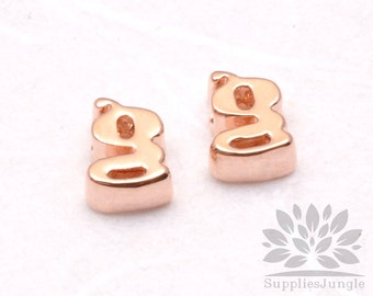 "IP003-GRG-G// Glossy Rose Gold Plated Simple Lower Case Initial ""g"" Pendant, 2 pcs"
