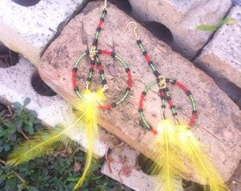 Is this love african inspired beaded feather earrings