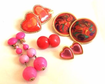 CLEARANCE destash red and pink vintage retro earrings mixed lot 5 pairs to wear or for crafts and assemblage lot 979