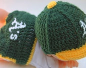 SALE  Oakland A's inspired baseball cap and diaper cover SET Crochet Hat fits 1-3 months with logo NOT made with felt
