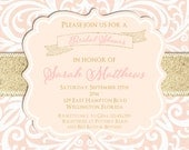 Blush Pink and Gold Glitter Damask Wedding Shower Invitation - Sweet 16 or Baby Shower Custom Invite