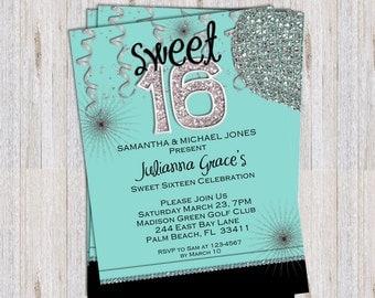 Sweet 16 Birthday Invitation - Quinceanera Blue Custom Printable Invite