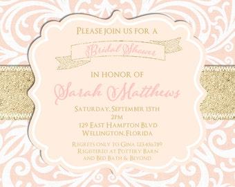 Blush Pink and Gold Glitter Damask Wedding Shower Invitation - Sweet 16 or Baby Shower Custom Invite