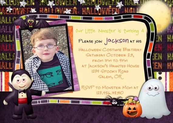 Halloween Birthday Boy Invitation with Ghost and Dracula  - Printed or Digital