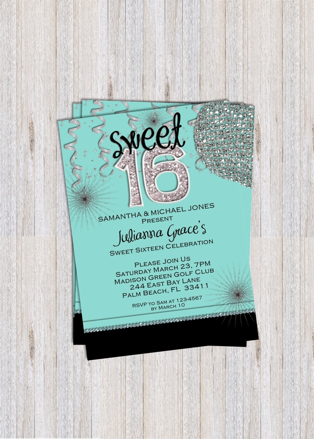 This is an image of Monster Free Printable Sweet 16 Invitations