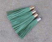 Sea Green(Green Emerald)  Nubuck (Suede) TASSEL in 13mm  Gold, Silver, Antique Brass or Antique Silver Plated Cap- Pick your tassel cap