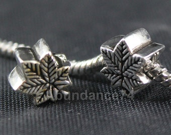 1 piece 925 Sterling Silver Maple Leaf European Bead Charm / Spacer -  2.7g  10mm EB0140