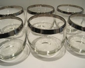 6 midcentury silver rimmed roly poly glasses