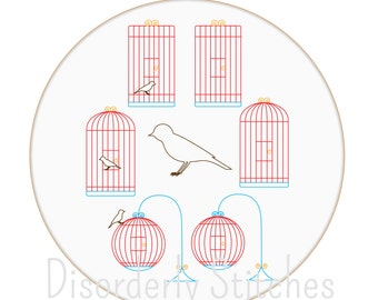 Birdcage Set Hand Embroidery PDF Pattern Instant Download