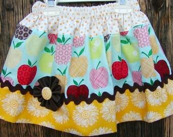 Girls skirt, Twirl Skirt, Infant skirt, toddler skirt, Custom..Summer Apples..sizes newborn  to 10 girls