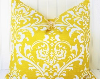 YELLOW Pillow.ALL SIZES.Decorative Yellow Pillow.Premier Prints Yellow Pillow Cover.18x18 inch.Cushion Cover.Toss Pillows