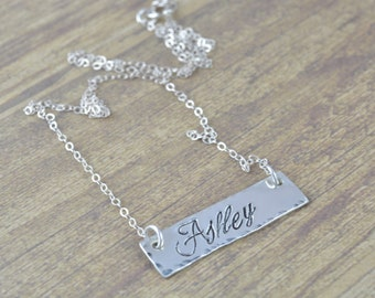 Sterling Silver Bar Necklace, Name Tag Necklace, Hand Stamped Jewelry, Personalized Jewelry by Miss Ashley Jewelry