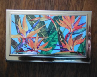 "Business Card Holder ""Bird of Paradise"" artwork by Candace Lee.  Made in Hawaii with Aloha"