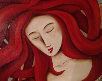Sirena de pelo rojo