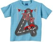 Race Car Number Shirt, Personalized Boy's Racing Birthday T-Shirt, 1st 2nd 3rd 4th 5th 6th 7th 8th 9th Birthday