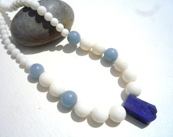 Gemstone necklace,White Coral, Angelite, Lapis Lazuli necklace, White gemstones necklace, Blue and white necklace, Chic necklace