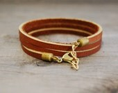 "Leather Wrap Bracelet in Brown | ""The Bexar"""