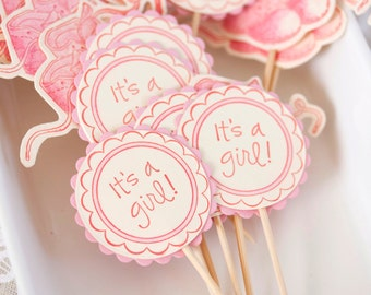 set of 12 pink and ivory cupcake toppers with shoe image baby girl shower party
